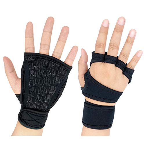 ANXEN Workout Gloves, Weight Lifting Gym Gloves with Built-in Wrist Wrap Support, Full Palm Protection for Men & Women, Exercise Gloves for Pull Ups, Cross Training, Fitness, Weightlifting