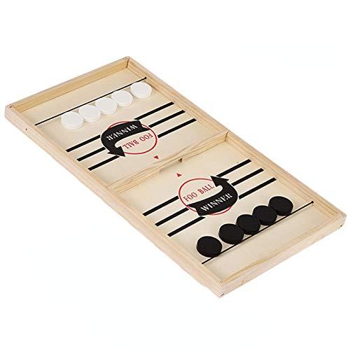 Juego de hockey sobre hielo de mesa de madera, juego de mesa rápido Slingpuck, juego interactivo de padres e hijos juguetes catapulta juego de mesa para niños adultos