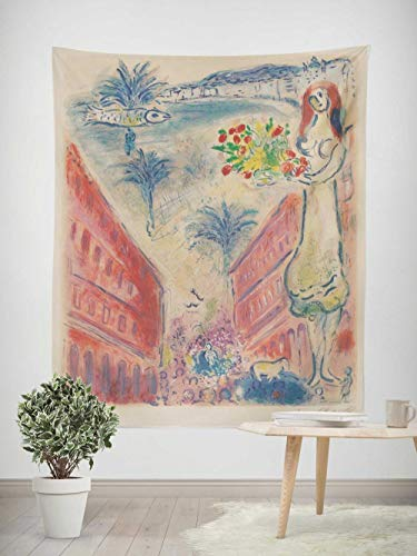 Tapiz - Adornos de Arte para Pared de Hogar, Pareo/Toalla de Playa Grande, Chic Decoración Habitacion 1 pieza, 130×150cm Cuadro abstracto Chagall mujer urbana con flores
