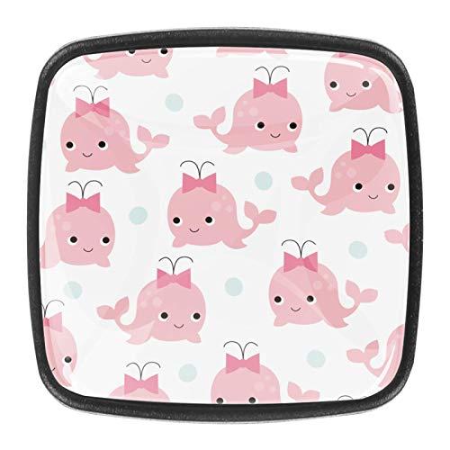 Pomos de cajón para armarios, armarios, mesitas de noche, 4 piezas, color rosa