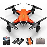 LMRC GPS Drone with 4K UHD Camera for Adults, Brushless Motor, GPS Auto Return, 5GHz FPV RC Quadcopter Auto Return Home, Altitude Hold, Follow Me, Custom Flight Path, Easy to Use for Beginner, 2 Batteries and Carrying Bag, Orange