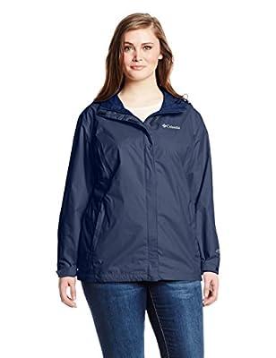 Columbia Women's Arcadia II Waterproof Breathable Jacket with Packable Hood, Navy, Medium