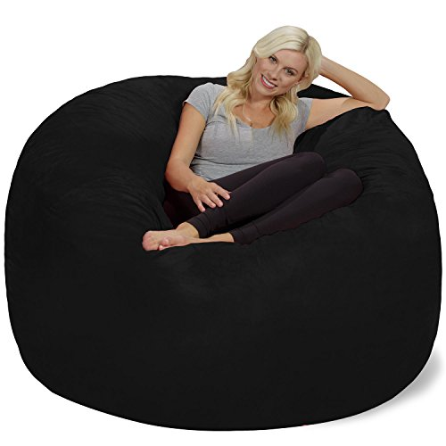 Chill Sack Bean Bag Chair: Giant 6' Memory Foam Furniture Bean Bag - Big Sofa with Soft Micro Fiber Cover, Black