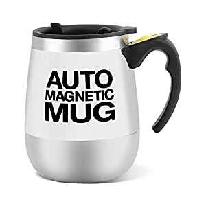 Taza de mezcla automática, taza de café eléctrica de acero inoxidable con agitación magnética Taza de café automática con agitación Taza automática de agitación automática(Blanco)