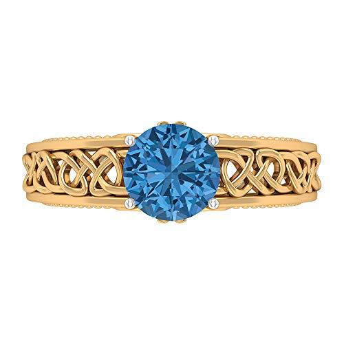 Anillo de compromiso con nudo celta de 7 mm creado en laboratorio, anillo de compromiso con nudo celta, D-VSSI Moissanite, anillo de boda de oro macizo, 14K Oro amarillo, Size:EU 44