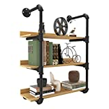 YITAHOME 3 Tiers Pipe Shelves Wall Mounted Industrial Retro Iron Shelf, Open Pipe with Hanging Bracket, DIY Storage Shelves, Kitchen Shelves, Office Shelves, Bookshelves and Bookcases-Walnut