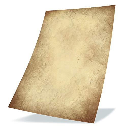 50 Stück Altes Papier 100g/qm DIY DIN A4 Antik Briefpapier beidseitig Druck Kommunion, Papierrolle für Landkarte, Kinder Schatzsuche, Historische Einladungen, Auszeichnungen