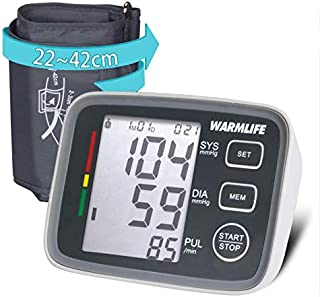 WARMLIFE Accurate Automatic Upper Arm Blood Pressure Monitor Digital BP Machine Pulse Rate Monitoring Meter with 8.8-14.1in Cuff Kit,180 Records Two Users,Speaker- FDA Approved (Classical Black)
