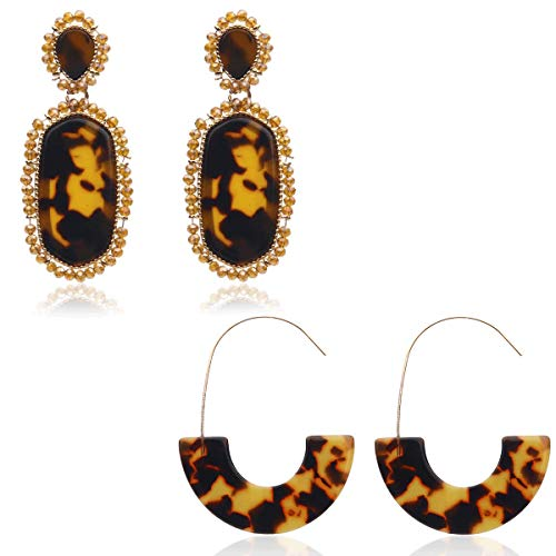 2 Pairs Resin Hoop Earrings Tortoise Shell Bohemian Acrylic Earrings for Girls and Ladies (Yellow)