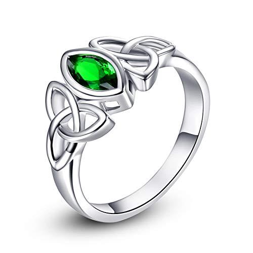 PAKULA Silver Tone Women Simulated Emerald Quartz Irish Celtic Knot Rings Size 10