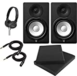 Yamaha HS7 7-Inch Powered Studio Monitor Speaker Black (Pair) with Professional Compact Closed Back Headphones, High Density Studio Monitor Isolation Pads (Pair) and 2 x 10-Foot TRS to XLR Cables
