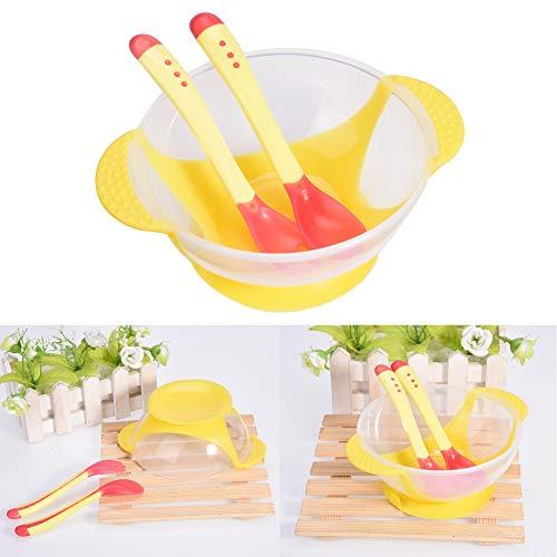 JULYKAI rutschfeste Safe Baby Saugnapfschale, Silikon Baby Geschirr Set, für Baby(Yellow)