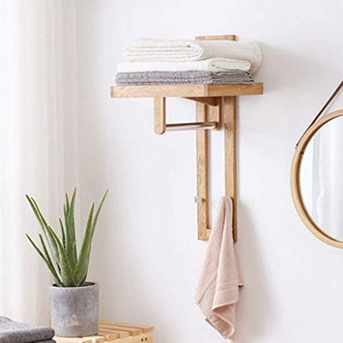Coat Rack Wall Mounted Bathroom Towel Rack Bathrobe Shelf with Two Hooks and Stainless Steel Cross Bar