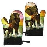 Ye Hua The Elephant Oven Mitts Guantes de Barbacoa - Guantes de Cocina Antideslizantes con Relleno de algodón Reciclado para Cocina Cocinar Hornear Asar a la Parrilla