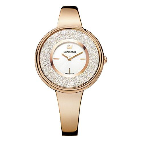 Swarovski Reloj Crystalline Pure, Pulsera de Metal, Blanco, PVD en Oro Rosa