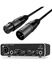 Behringer Interface Audio USB UMC22 U-Phoria + Cable Premium XLR Macho/XLR Hembra 6 Metros