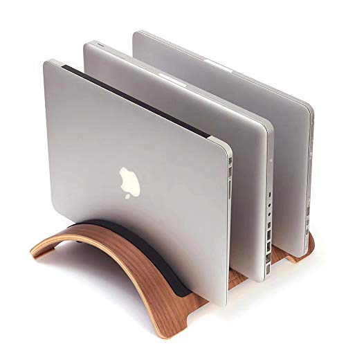 Samdi Wooden Laptop Storage Stand,Compatible 3 Slots Vertical Wooden Stand,Suitable for Fit MacBook Air Pro Notebooks and Most Laptops (Walnut)