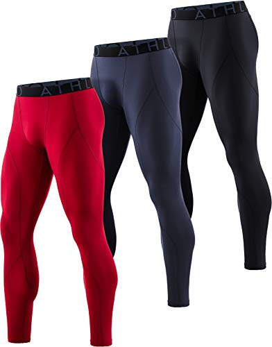 ATHLIO Men's Thermal Emboss PantsWintergear Compression Baselayer Sports Leggings, Active 3pack(lyp43) - Black/Charcoal/Red, Large