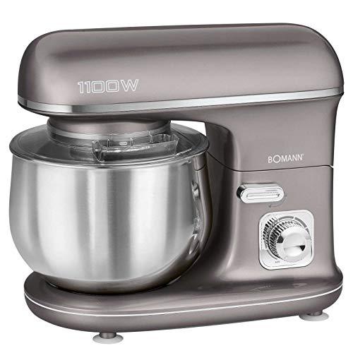 Küchenmaschine Rührmaschine mit Schüssel Edelstahl 5 Liter Knetmaschine Grau (1100 Watt, Schneebesen, Rührbesen,Knethaken, Sicherer Stand)