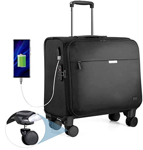 Hanke Business Trolley mit Austauschbare Rollen TSA-Zollschloss USB-Ladeanschluss 15,6 Laptopfach Laptop Business Koffer 18 Zoll, 36L