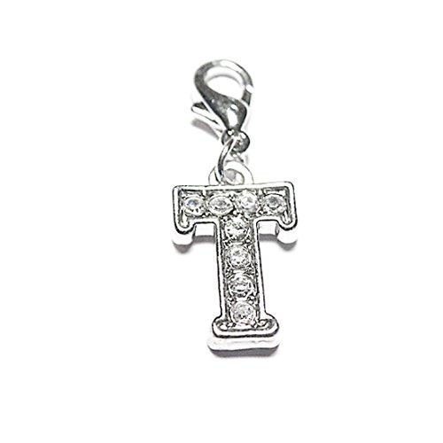 AKKi jewelry Charm Buchstaben Alphabet Anhänger Silber Charms Charmed Club für bettel - Armband Kette Swarovski Kristalle karabina T