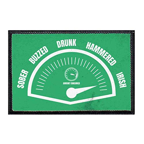 Amount Consumed - Green Distressed Morale Patch   Hook and Loop Attach for Hats, Jeans, Vest, Coat   2x3 in   by Pull Patch