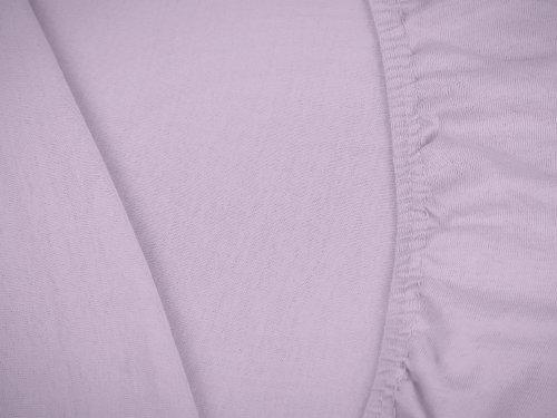 npluseins klassisches Jersey Spannbetttuch – erhältlich in 34 modernen Farben und 6 verschiedenen Größen – 100% Baumwolle, 70 x 140 cm, flieder - 5