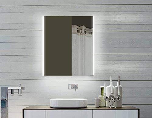 Lux-aqua LED Aluminium Badezimmerspiegelschrank Spiegelschrank Badschrank Badspiegel Lichtspiegel LLC60X70, Silber, 600x700x120mm