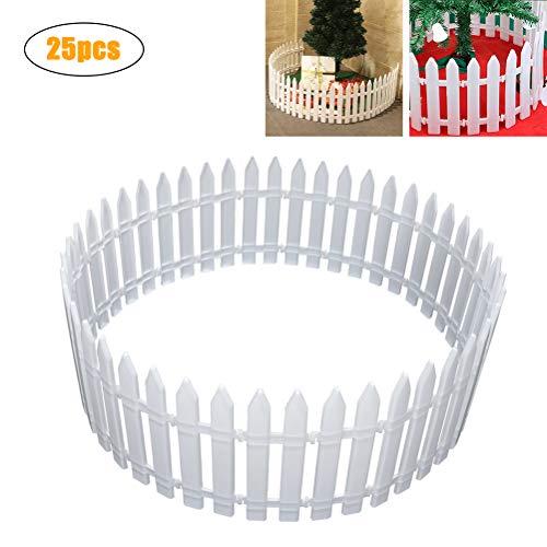 MIFASA - Cerca de plástico para piquetes, 25 unidades, color blanco, flexible, para el hogar, jardín, Navidad, árbol de Navidad, decoración de fiesta de boda