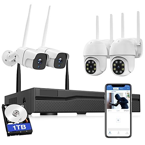 Funk Überwachungskamera Set Aussen, WLAN Überwachungskamera System mit 8CH NVR und 4X 3MP Kameras und 1TB HDD, IP66 wasserdicht, Nachtsicht, 24/7 Aufnahme Outdoor, Bewegungsalarm, Zwei-Wege-Audio