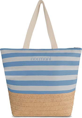 normani XXL Strandtasche mit Henkeln und Innentasche - Shopper groß - Damen Schultertasche - Tasche mit Stroh 30 Liter Farbe Blue