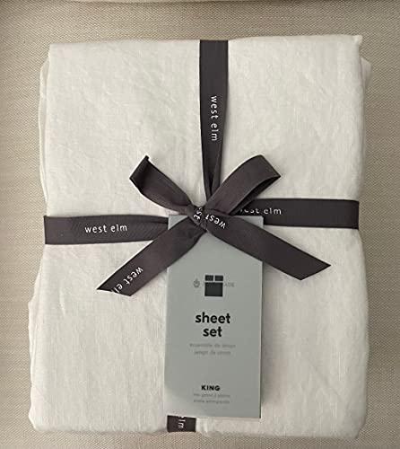 West Elm Belgian Linen Sheet Set~King~~White~~