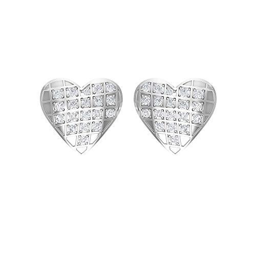 Pendientes de diamante HI-SI de 1/4 quilates, pendientes con forma de corazón para mujer, pendientes de oro delicado, rosca en la parte posterior blanco