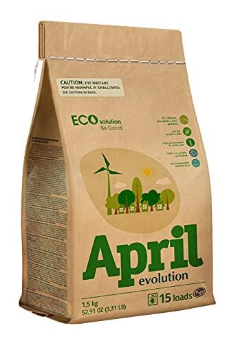 April Evolution EcoSolution Detergente en polvo CONCENTRADO BIO para ropa. Alto rendimiento en agua fría, Sin perfume, HE, SIN PLÁSTICO