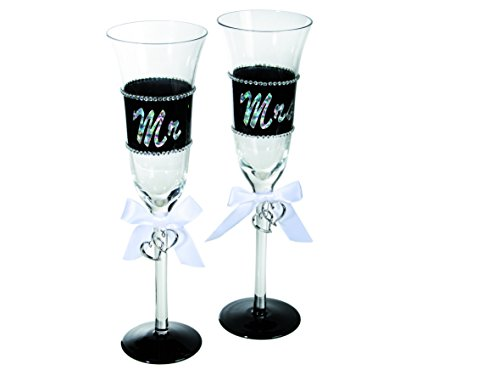 Out of the Blue 750039 Sektglas mit Schleifenband, Glittersteinen und silberfarbener Beschriftung auf Schwarzem Grund, Mr und Mrs, Circa 24 cm, 2-er Set in PVC Box
