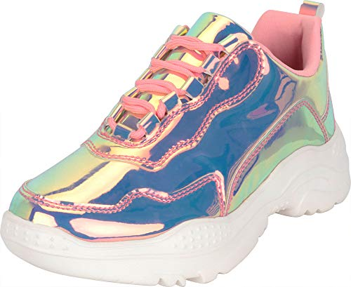 Cambridge Select Women's 90s Ugly Dad Iridescent Holographic Lace-Up Chunky Fashion Sneaker,7 B(M) US,Rose Pink Hologram
