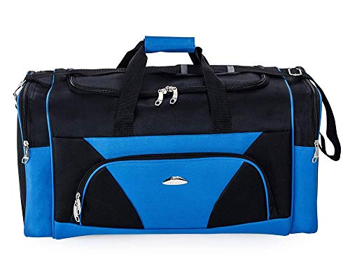 Masman Sports Gym Bag Duffel Bag – Lightweight, Durable cv Outdoor Luggage Duffle Bag Holdall for Gym Climbing Sports Travel Crossfit (Black Blue, 24)