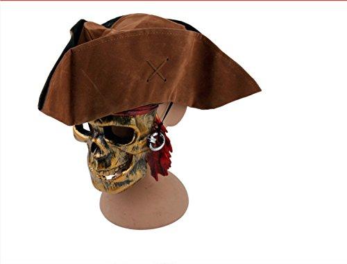Jack Sparrow Fluch der Karibik Piraten-Hut Dreispitz Braun - Piraten-Kostüm für Erwachsene & Kinder - perfekt für Fasching, Karneval & Halloween - Einheitsgröße