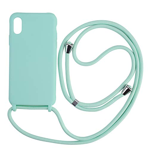 Ququcheng Funda Compatible con iPhone 7 Plus/8 Plus,Ajustable Collar Correa de Cuello Cordón Cuerda Carcasa TPU Bumper Silicona Skin Caso para iPhone 7 Plus/8 Plus-Verde