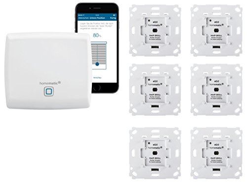 Homematic IP Rolladensteuerung für 6 Rolladen. Smart Home Set inkl. App zur Automatisierung der Rollläden. Ideal zur Nachrüstung. Alexa kompatibel. Inhalt: Zentrale, 6 Funk Rollladenaktoren, Adapter.