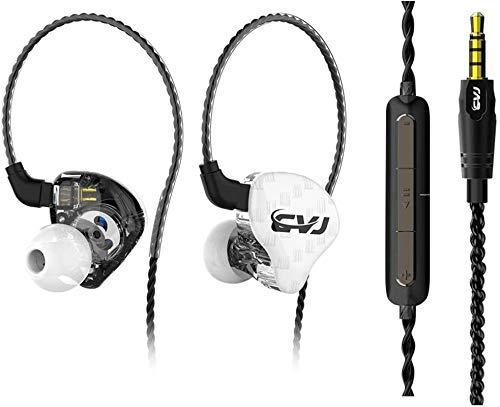 MQUPIN professioneller In-Ear-Monitor, HiFi, Bass, Kopfhörer für Sport, mit Geräuschunterdrückung, Headset mit 2 Pins, abnehmbarem Kabel und 3 Silikon-Ohrstöpseln with mic weiß