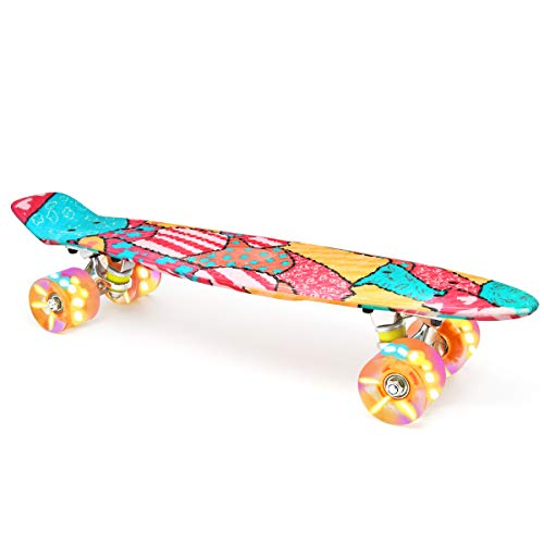 M Merkapa Skateboards with Colorful LED Skateboard Wheels - Great Skateboards for Kids to Adults, Beginners to Skateboarders(Orange Block)