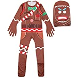 Halloween Costumes Kids Gingerbread Man Skull Trooper Skin Decoration Boys Character Clown Cosplay Clothes (Orange, T7)