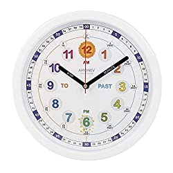 Amonev Time Teacher Clock Children Silent Wall Clock, Easy to Read Clock with Non Ticking Movement. Teach Children How to Read an Analogue Clock (Multicolor V2)