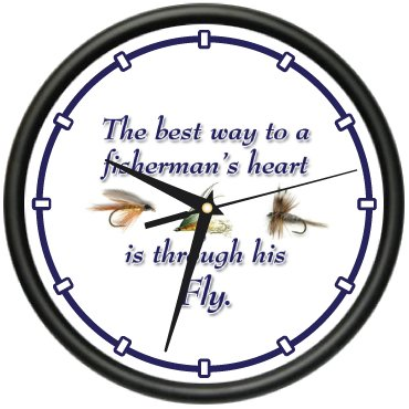 SignMission Fly Wall Clock Fisherman Bait Lure Tackle Box Boat Gag Gift, Beagle, 1fly Fishing