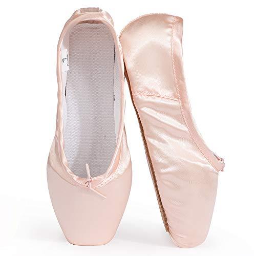 Mujeres y Niñas Satén Pointe Zapatos para Ballet Pack de 1 (Gratis 1 Pares de Gel de Silicona Toe Protectores y Cinta de satin)