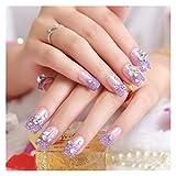 DINGGUANGHE Consejos para Las uñas de la Boda 24 PC/Set Nave Falsa Pulso EN Las Claves Purpura Long Purple
