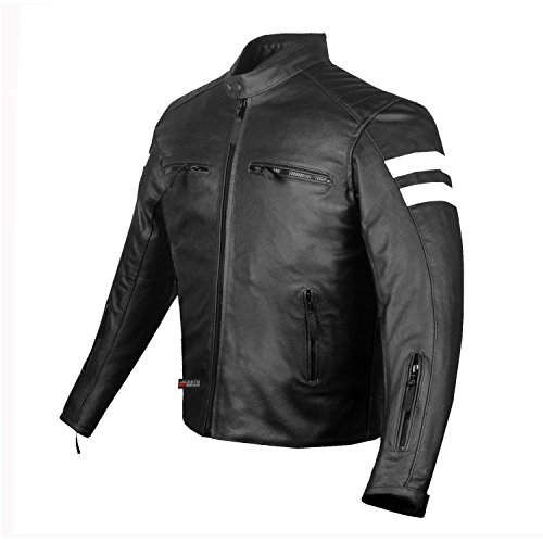 New AXE Men's Leather Jacket Motorcycle CE Armor Biker...