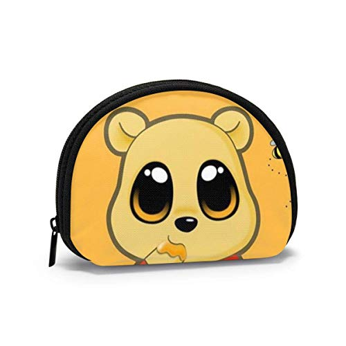 Coin Purse Change Wallet, Winnie The Pooh Cartoon Coin Pouch Portable Shell Storage Bag for Women Girls