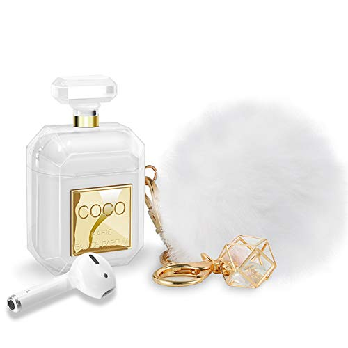 AirPods Case with Keychain & Fur Ball Perfume Bottle Design Cute Silicone Soft Protective Shockproof...